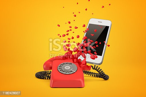 istock 3d rendering of red wireline phone breaking in pieces and white modern smartphone behind it on amber background. 1182428327