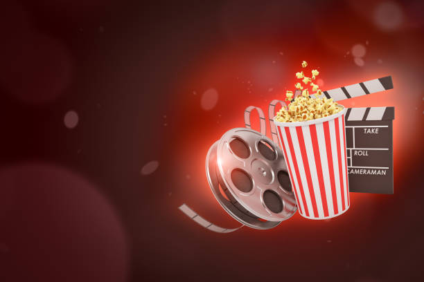 3d rendering of retro film reel, pop corn bucket and clapperboard on crimson bokeh background with copy space.