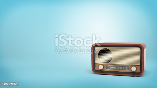 istock 3d rendering of retro-style radio set in brown color with a speaker and tuner knobs stands on blue background 905389972