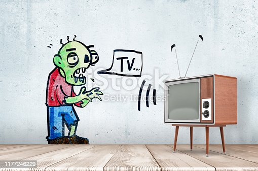 istock 3d rendering of room with retro TV set and drawing of green zombie on wall uttering word 'TV' in speech bubble. 1177246229