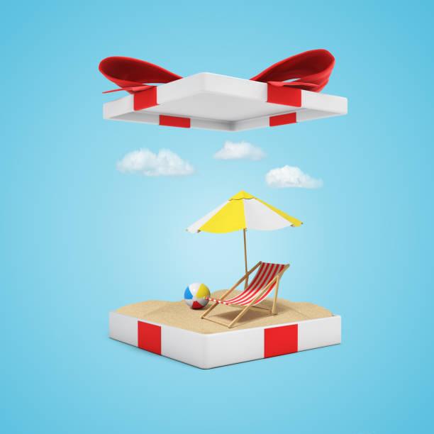 水色の背景に開かれたギフトボックスに砂、ビーチチェア、ボール、傘の3dレンダリング - アイコン プレゼント ストックフォトと画像