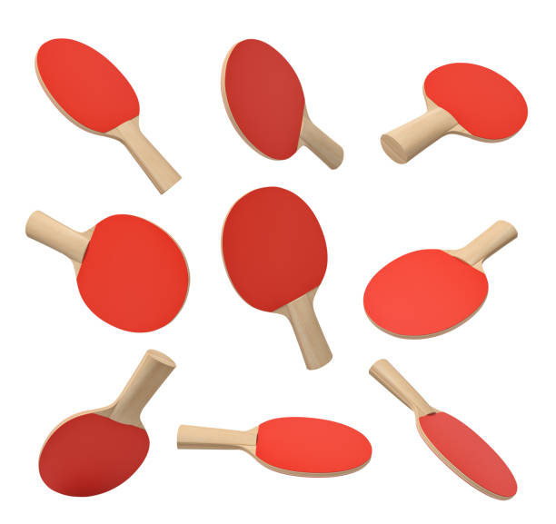 3d rendering of set of ping pong rackets with wooden handle and red rubber on white background. - table tennis racket stock pictures, royalty-free photos & images