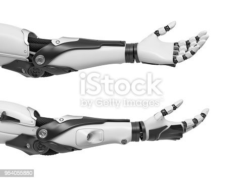 istock 3d rendering of set of two black and white robotic hands with palms open and fingers relaxed and sticking out 954055880