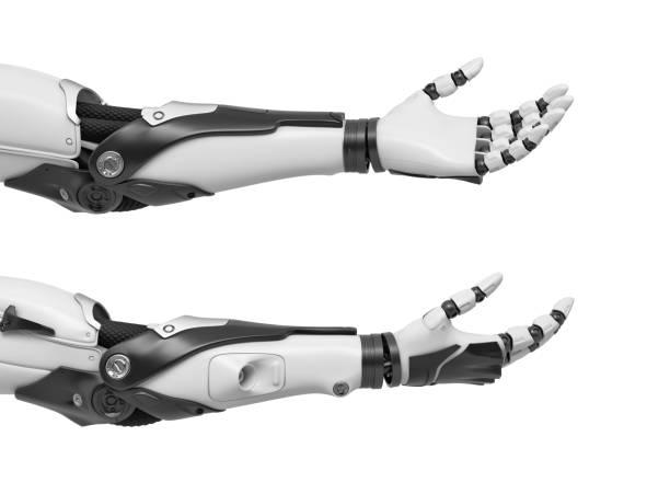 オープン手のひらと指ロボットハンドのリラックスした 2 つの黒と白のセットの 3 d レンダリングと突き出て - 四肢 ストックフォトと画像