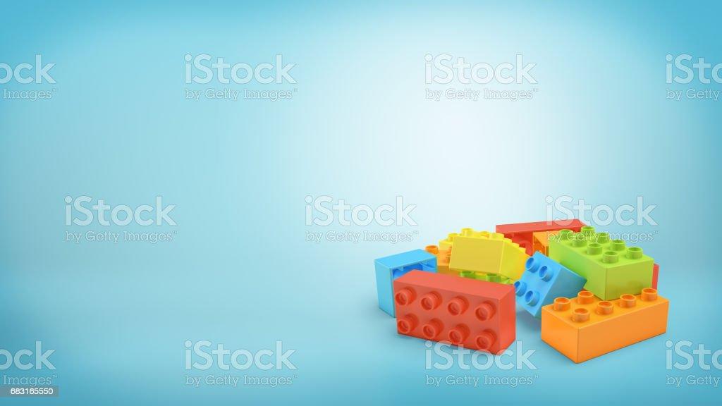 藍色背景下多色矩形玩具塊的3d 渲染 免版稅 stock photo
