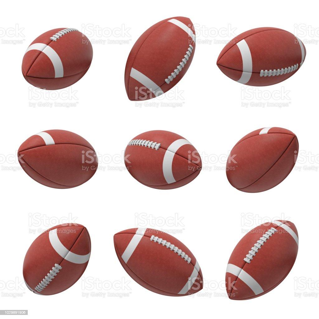 rendu 3D de football américain ovale plusieurs Boule suspendue sur un fond blanc et illustré de côtés différents - Photo