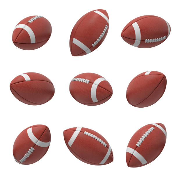 3d rendering of several oval american football ball hanging on a white background and shown from different sides - football zdjęcia i obrazy z banku zdjęć