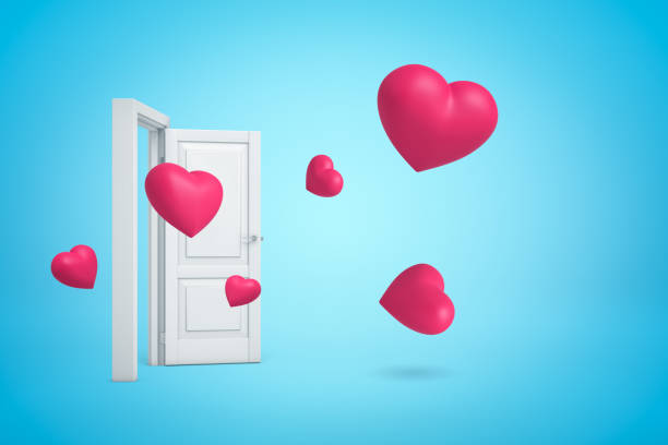 3d rendering of several pink hearts flying out of open white doorway on light-blue background.