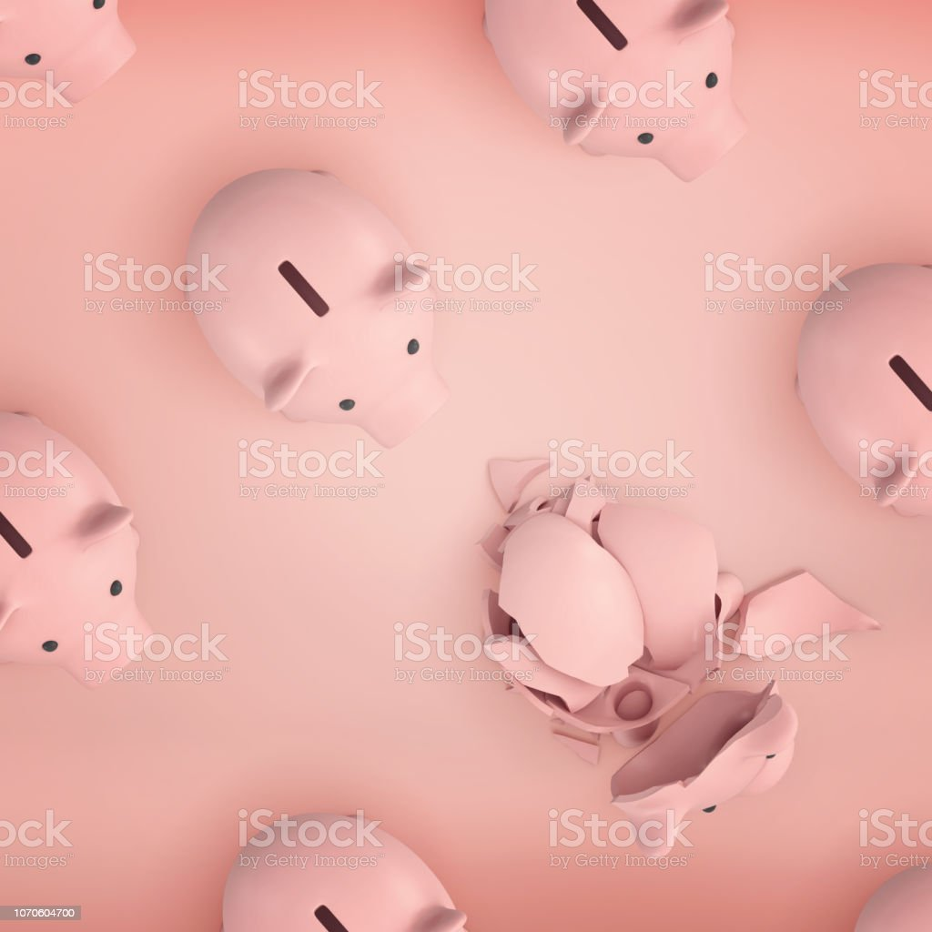3d rendering of several rows of identical pink piggy banks shown from above with one of them broken into shards. stock photo