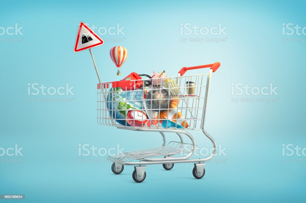 3d rendering of shopping cart filled with such things as an Earth globe, phone, iron ball, piggy bank, golden egg and clock inside royalty-free stock photo