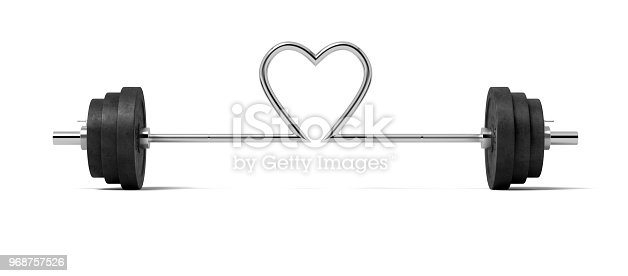 3d rendering of single barbell with heavy weights and the steel bar twisted in a heart shape in the center. Love for sport. Bodybuilding gear. Lifting weights.
