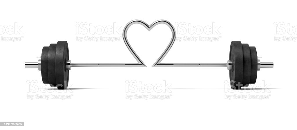 3d rendering of single barbell with heavy weights and the steel bar twisted in a heart shape in the center stock photo