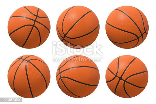 3d rendering of six basketballs shown in different view angles on a white background. Team sport. Scoring game points. Net games.