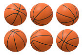3d rendering of six basketballs shown in different view angles on a white background.