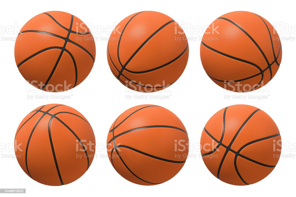 3d rendering of six basketballs shown in different view angles on a white background. stock photo