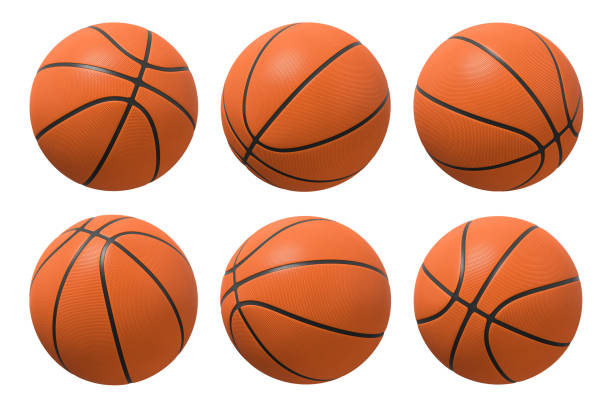 3d rendering of six basketballs shown in different view angles on a white background. - basketball stock pictures, royalty-free photos & images