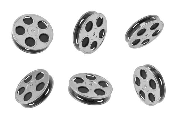 3d-rendering sechs black film klebeband rollen in verschiedenen winkeln auf weißem hintergrund. - spule stock-fotos und bilder