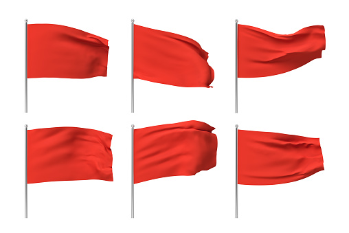3d rendering of six red flags hanging on posts and wavering on a white background. Throwing red flag. Symbol of freedom. Surrender and giving up.