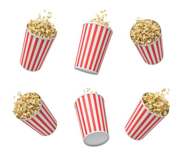 3d-rendering van zes gestreepte pop corn tubs opknoping op witte achtergrond. - popcorn stockfoto's en -beelden