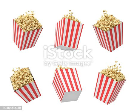 3d rendering of six striped pop corn tubs hanging on white background. Cinema culture. Movie snack. Pop corn serving.