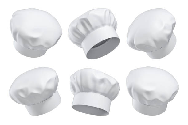3d rendering of six white chef's hats isolated on a white background in different angles. stock photo