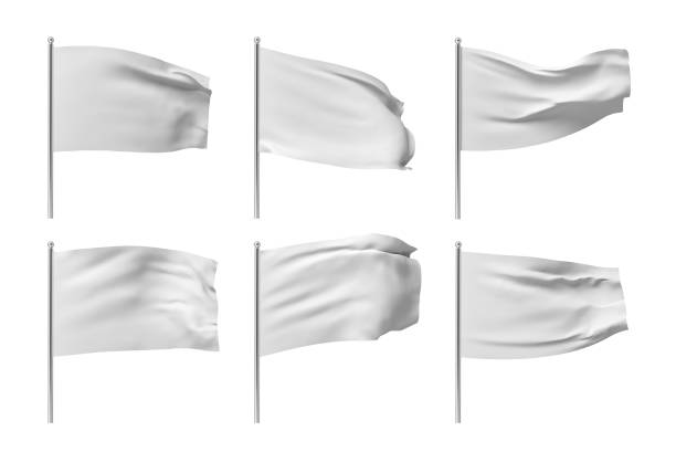 3d rendering of six white flags hanging on posts and wavering on a white background. 3d rendering of six white flags hanging on posts and wavering on a white background. Throwing white flag. Symbol of freedom. Surrender and giving up. flags stock pictures, royalty-free photos & images