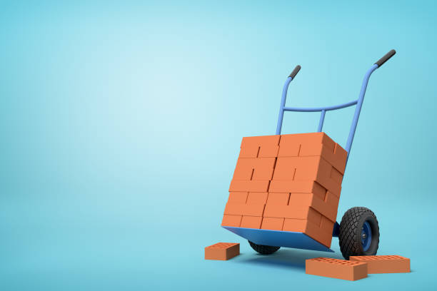 3d rendering of stack of red perforated bricks on blue hand truck with several bricks on ground on light-blue background.