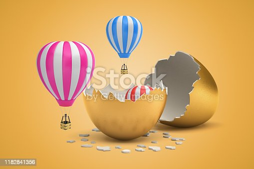istock 3d rendering of striped hot-air balloons hatching out from golden egg on light-ocher background. 1182841356