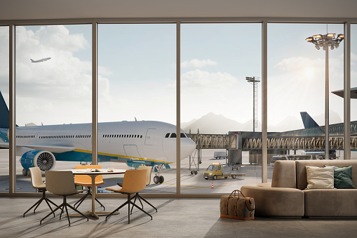 Airplane parked at terminal seen from the airport lounge. 3d rendering of an airport terminal.