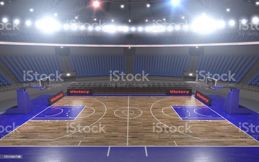 renderização em 3D do estádio de basquetebol com luzes - foto de acervo