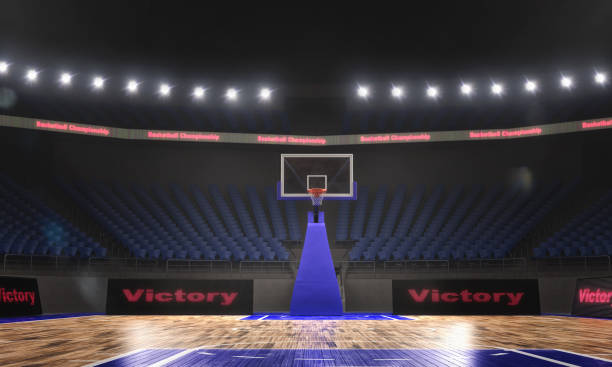 3d rendering of the basketball stadium with lights stock photo