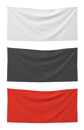 3d rendering of three horizontally flags of white, black and red colors hanging on a white background. Political and social flags. Symbols of social groups. Means of information.