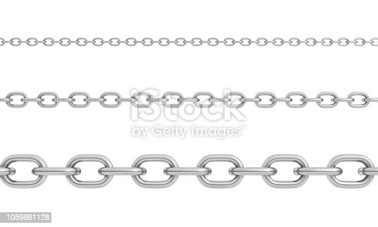 3d rendering of three horizontally placed polished steel chains of different size with strong links. Connection and binding. Strongly chained together. Restriction and safety measure.