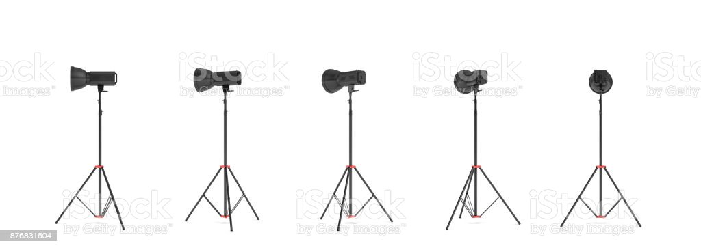 3d rendering of three lights with reflectors with the head turned down and up. stock photo