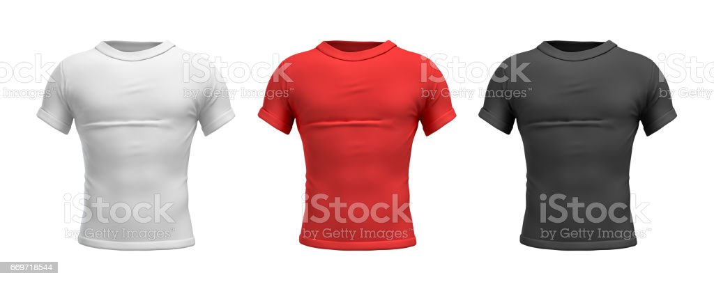3d rendering of three male T-shirts in realistic slim torso front view in white, red and black colors stock photo