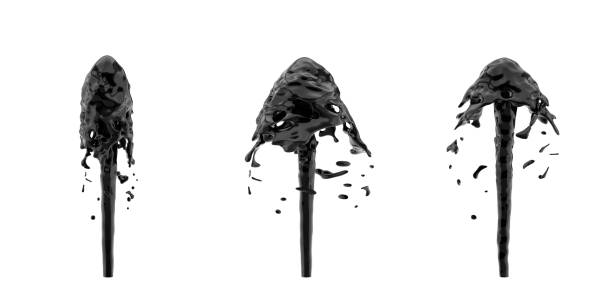 3d rendering of three oil fountains shooting black liquid up and splashing it around stock photo