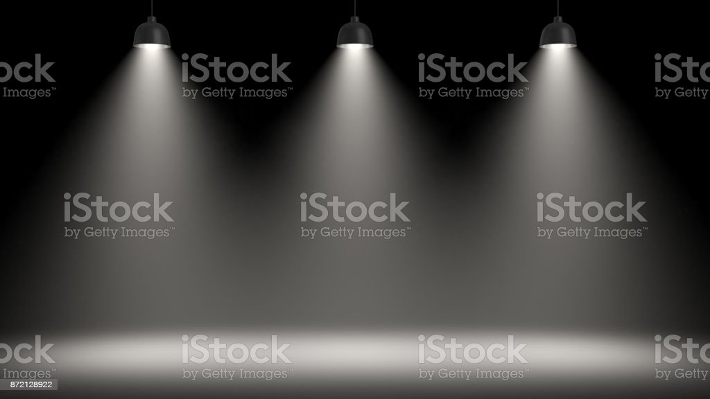 3d rendering of three pendant lamps all making a large light circle on the floor. stock photo