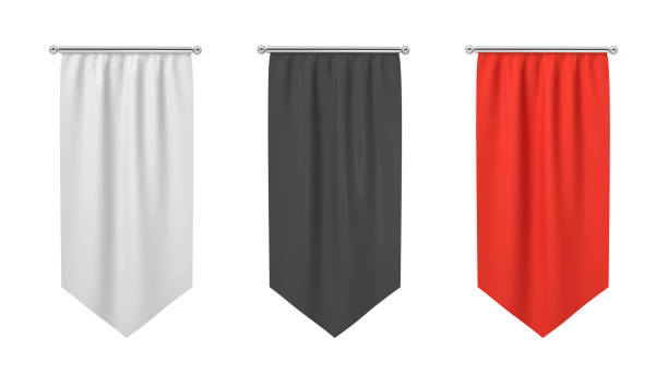 3d rendering of three rectangular black, white and red flags hanging vertically on a white background. - вертикальный стоковые фото и изображения