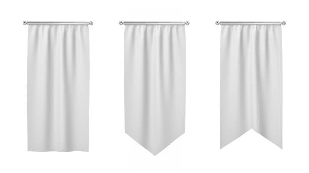 3d rendering of three rectangular white flags hanging vertically on a white background. - вертикальный стоковые фото и изображения