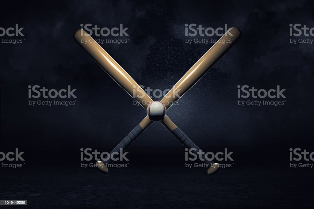 3d rendering of two baseball bats lying over each other in a cross with a small ball in their center. stock photo