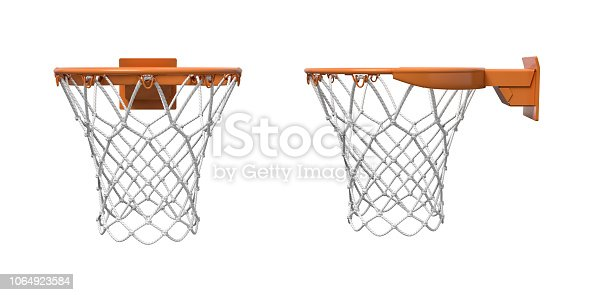 3d rendering of two basketball nets with orange hoops in front and side views. Basketball game. Scoring points. Empty net.