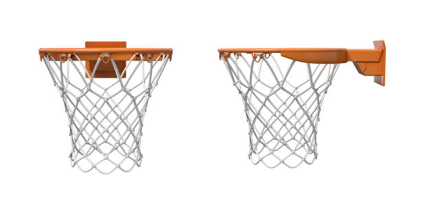 3d rendering of two basketball nets with orange hoops in front and side views. stock photo