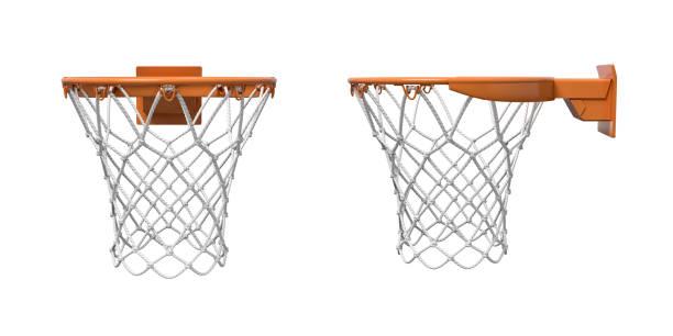 3d-weergave van twee basketbal netten met oranje hoepels vooraan en zijaanzicht. - basketbalbord stockfoto's en -beelden