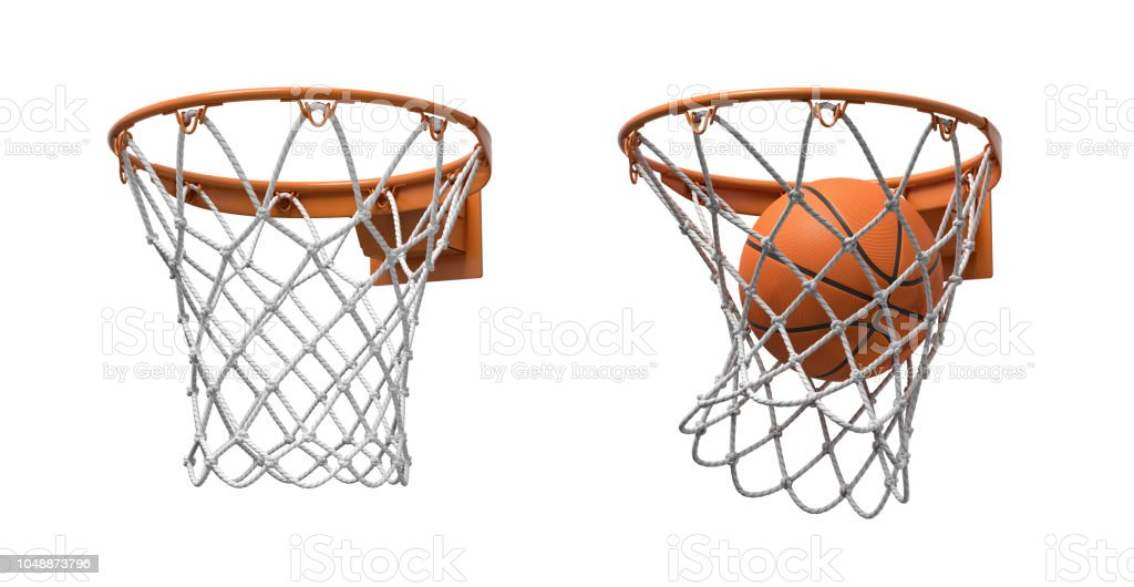 3d rendering of two basketball nets with orange hoops, one empty and one with a ball falling inside. - Royalty-free Accuracy Stock Photo