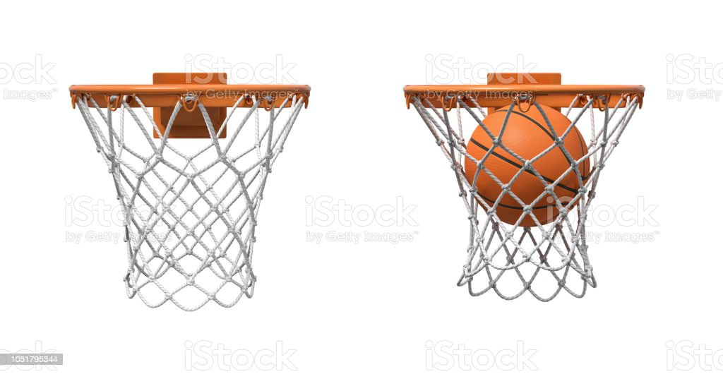 3d rendering of two basketball nets with orange hoops, one empty and one with a ball falling inside. stock photo