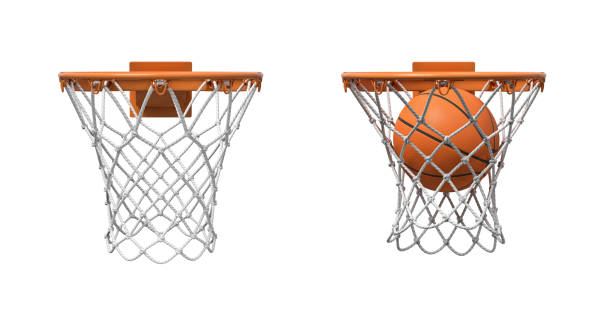 3d rendering of two basketball nets with orange hoops, one empty and one with a ball falling inside. - basketball hoop stock pictures, royalty-free photos & images