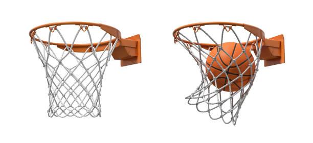 3d-weergave van twee basketbal netten met oranje hoepels, een leeg en één met een bal vallen binnen. - basketbalbord stockfoto's en -beelden