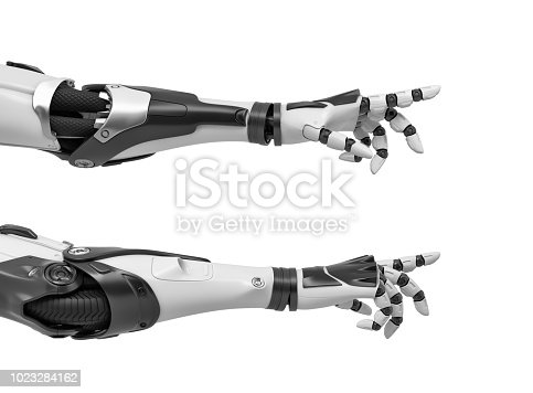 istock 3d rendering of two black and white robotic hands reaching out with its fingers as if to touch something 1023284162