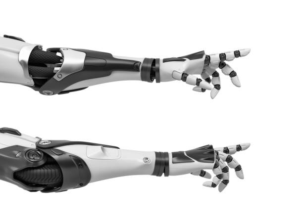 3d rendering of two black and white robotic hands reaching out with its fingers as if to touch something 3d rendering of two black and white robotic hands reaching out with its fingers as if to touch something. Technological development. Science and curiosity. Reach for dream. prosthetic hand stock pictures, royalty-free photos & images