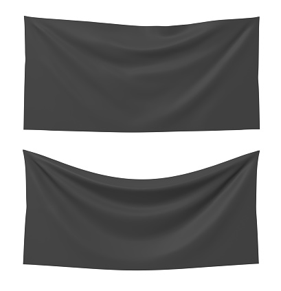 3d rendering of two black rectangle flags, one straight and another hanging down on a white background. Flags and symbolic. Political party accessories. Background for symbols.